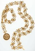 Authentic 90s Vintage Gold Medallion Chain Waist Belt Rare New With Tag