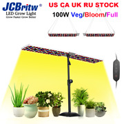 Jcbritw 100w Led Grow Light With Adjustable Stand White Red Blue Full Spectrum