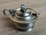 Vintage Silver Sugar Bowl With Glass Container And Spoon .royal Silver