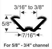 Universal U Shaped Weatherstripping Channel 96 Long For Edges 3/16 X 7/32