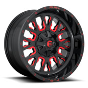 20 Inch Red Wheels Rims Fuel Stroke D612 20x10 Lifted Toyota Tacoma Fj 4runner