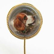 .antique Victorian Reverse Intaglio Essex Crystal Cocker Spaniel Dog Gold Pin