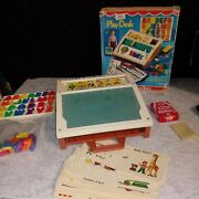 Vintage Fisher Price Toys Play Desk Portable Activity Complete Original Box Game