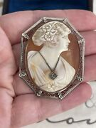 Antique Cameo Brooch 19th 14k White Gold Filigree Diamond Deep Carved Pin 🥰