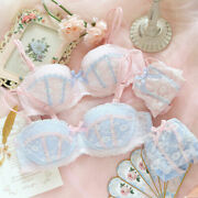 2021 New Pink Blue Sexy Lolita Cute Lace Bow Bra And Panty Set Home