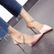 Womens Pointed Toe Pumps Rhinestone Stilettos High Heel Sandals Casual Shoes New