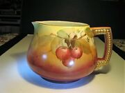 Large Anituqe Jpl Limoges Artist Signed Apples On Branches Decorated Pitcher