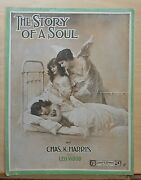 The Story Of A Soul - 1916 Large Sheet Music - Guardian Angel Watches Over Girl
