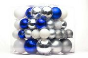 62 Pack Of Blue, White And Silver Ball Christmas Ornaments