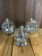 Lot Of 3 Lamplight Glass Oil Lamps New Decorative Silver