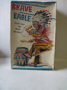 Vintage Brave Eagle Battery Operated, Beating Drum And Raising War Whoop Nomura