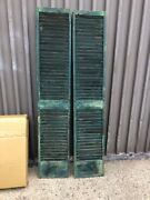 """Pair C1880 Antique Victorian Louvered House Window Shutters Green 76"""" H X 15"""" W"""
