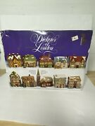 Vintage Dickens London Collectables Set Of 10 Miniature Lighted Houses Christmas