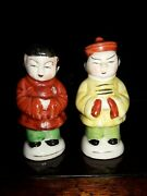 Vintage Oriental Asian Man And Woman Salt And Pepper Shakers Collectible