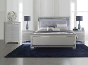 New Silver Led 4pc Queen Or King Modern Bedroom Set - Bed 2 Nightstands Chest