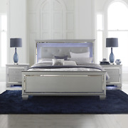 New Silver Led Light 3pc Queen Or King Modern Bedroom Set - Bed And 2 Nightstands