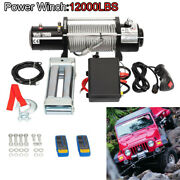 12v 12000lbs Electric Winch Towing Trailer Steel Cable Off Road Cordless Remote