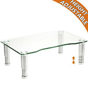 Hemudu Clear Tempered Glass Computer Monitor Stand Riser With Height Adjustable