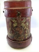 Antique British Leather Fire Bucket Royal Coat Of Arms Heraldic Crest Lion Red