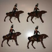 4 Vintage Britains Lead Toy Soldier - 7th Hussars And Horse 100 Original Nos