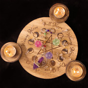 Wood Candle Holder Tealight Tray Tarot Altar Wicca Pagan Pentagram Witch Craft