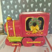 Christmas Train Engine 100 Earthenware Candy Dish Or Planter Holiday Decoration