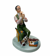 Norman Rockwell Porcelain Figurine And039man Threading A Needleand039 Danbury Mint 1980