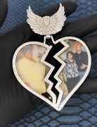 Menand039s Customized Very Large Broken Heart Memory Picture Pendant In 925 Silver
