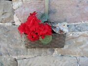 Farmhouse Hanging Basket With Small Ornament Bird And Flowers Set