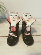 Vintage Puss In Boots Kitty Cat Salt And Pepper Shakers Set