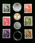 Rare Ww2 German Coins And Stamps Set Of Historical Artifacts - 2 And 10 Rp Coin