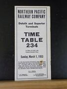 Northern Pacific Railway Co Duluth And Superior Terminals 234 Employee Timetable
