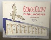 Vintage Old Wright And Mcgill Eagle Claw Hooks Bait Store Display W Product 1938
