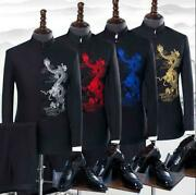 2pcs Mens Retro Tang Suits Embroidery Coat Button Blazers Pants Jackets Trousers