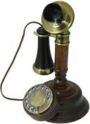 Candlestick Phone Wooden Vintage Telehone Retro Rotary Dial Collectors Gifts