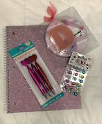 Initial D Round Pad And Paperweight, Heart Pens And Pink Sparkle Spiral Notebook