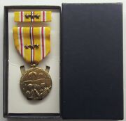 Ww Ii Asiatic Pacific Campaign Medal Set In Gi Issue Box With 3 Battle Stars