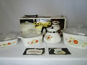Corning Ware Wildflower Cook 'n' Brew Set 7 Pieces A-45o-7 Nib Sealed Teapot