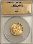 1901-a German States Prussia 20 Mark Gold Coin Anacs Ms 62 Ms62 Wilhelm Ii 1901a