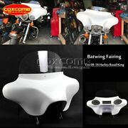 For 94-17 Harley Road King Detachable Batwing Fairing 6x9 Speakers Stereo White