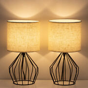 2 Pack Modern Farmhouse Lamp Desk Table Lamp Beside Nightstand Lamp Hollow Out