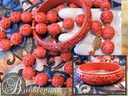 Antique Chinese Carved Cinnabar Lacquer Beads Necklace And Bangle Bracelet