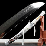 Sliver White Wolf Japanese Samurai Sword Clay Tempered T1095 Steel Tanto Sharp