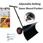 29x17 Adjustable Heavy Duty Rolling Snow Shovel Pusher With 25cm Rubber Wheels