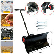 29x17 Adjustable Heavy Duty Rolling Snow Shovel Pusher With 10 Rubber Wheels