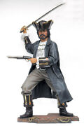 7and039 Tall Buccaneer Pirate With Sword And Pistol Resin Statue Prop Display