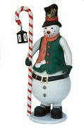 7 Snowman Holding Candy Cane Lantern Resin Christmas Holiday Statue Display