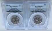 2004-d Wisconsin Extra High And Extra Low Leaf Statehood 25c Error Set Pcgs Ms 66