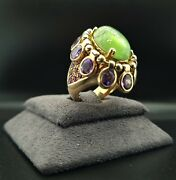 18 K Gold 1980s Ring By Luis Gil 9 Ct Cabouchon Peridot