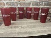 Coca-cola Plastic Tumbler Ruby Red Glasses Lot Of 6 Cups